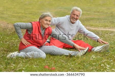 fit senior couple exercising - stock photo