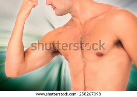 Fit shirtless man flexing his bicep against abstract background - stock photo