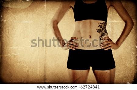 Fit textured bodybuilder background - stock photo