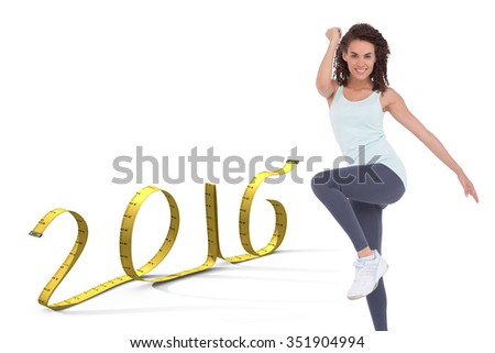 Fit woman doing aerobic exercise against white background with vignette - stock photo