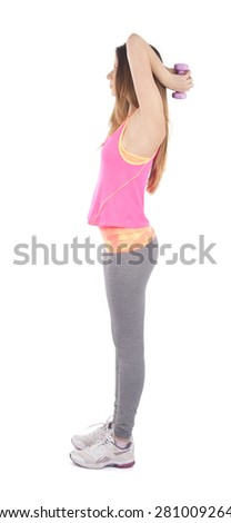 Fit woman doing exercises with a dumbbell against a white background - stock photo
