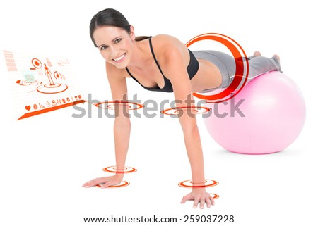 Fit woman doing push ups on fitness ball against fitness interface - stock photo