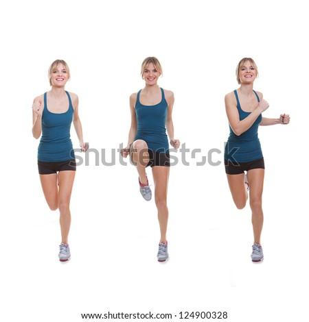 Fit woman exercising, running, jogging or doing aerobics. - stock photo
