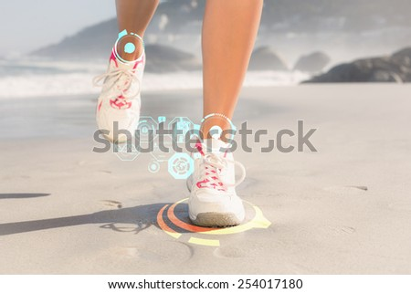 Fit woman walking on the beach against fitness interface - stock photo