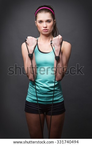 Fit Woman with Stretch Band - stock photo