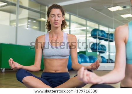 Fit women doing yoga together in studio at the gym - stock photo