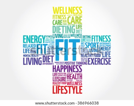 FIT word cloud, health cross concept - stock photo
