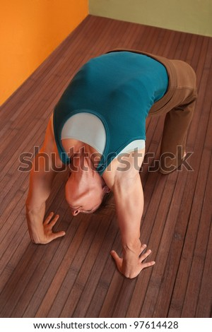 Fit young woman in Urdhva Dhanurasana posture - stock photo