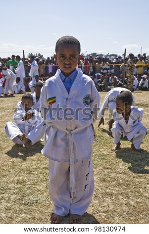 FITCHE - JANUARY 13:Tae Kwon Do display at the 20th World Aids Day event on January 13, 2008 in Fitche, Ethiopia