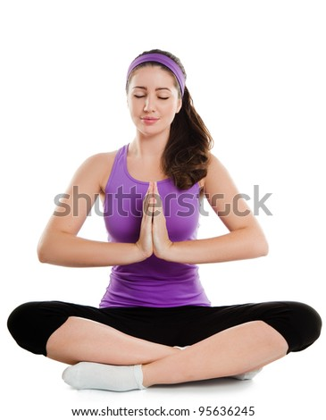 Fitness active woman doing relaxing exercise - stock photo