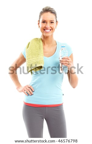 Fitness and gym. Smiling young  woman with water. Isolated over white background - stock photo