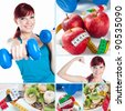 Fitness and healthy life-style collage - stock photo