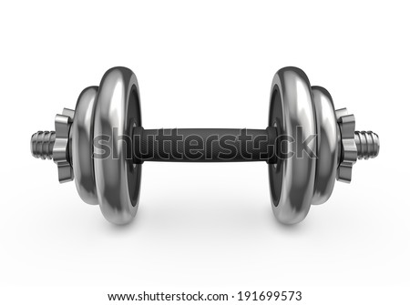 Fitness and sports equipment: metal dumbbell with disks isolated on white background