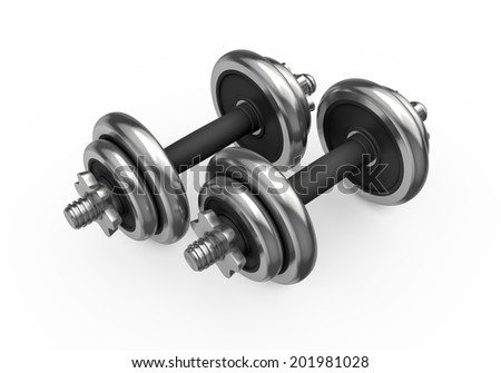 Fitness and sports equipment: metal dumbbells with disks isolated on white background