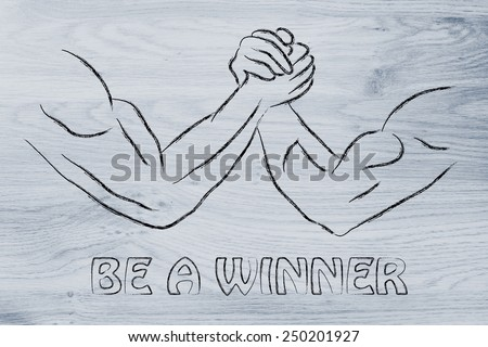 fitness and strength training: arm wrestling challenge illustration, be a winner