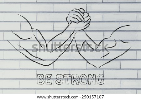 fitness and strength training: arm wrestling challenge illustration, be strong