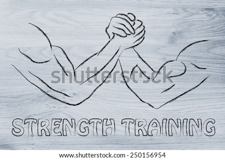 fitness and strength training: arm wrestling challenge illustration,  strength training