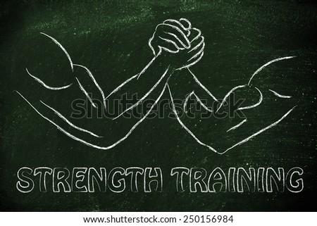 fitness and strength training: arm wrestling challenge illustration,  strength training - stock photo