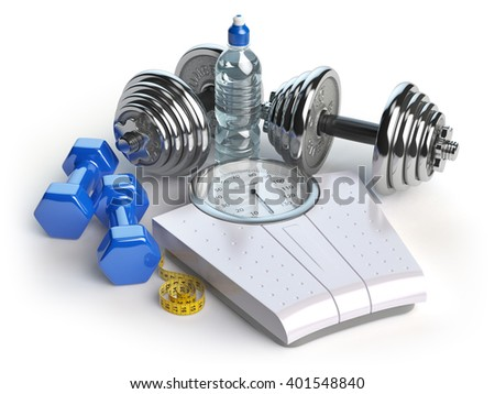 Fitness and weight loss concept. Weigh scales, dumbells and measuring tape. Healthy lifestyle. 3d illustration - stock photo