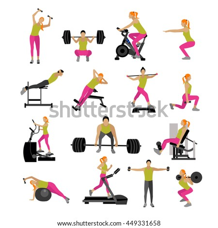 Fitness and workout exercise in gym. Set of gym icons in flat style isolated on white background. People in gym. Gym equipment, dumbbell, weights, treadmill, ball.