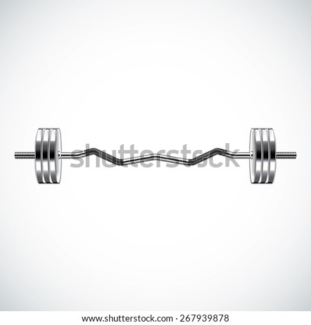 Fitness background with metal realistic dumbbell - stock photo