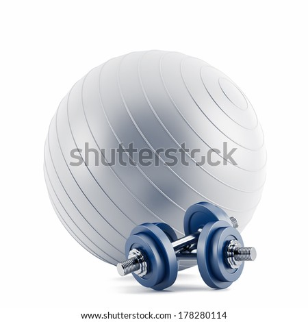 Fitness ball,and blue weights  - stock photo