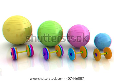 Fitness ball and dumbell. 3D illustration. Anaglyph. View with red/cyan glasses to see in 3D.