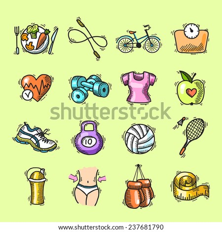 Fitness bodybuilding diet trainer exercise colored sketch decorative icons set isolated  illustration