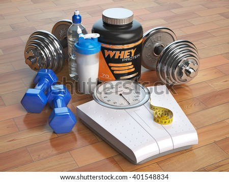 Fitness, bodybuilding or weight loss concept. Weight scales, dumbbells whey protein powder with shaker. Healthy lifestyle. 3d illustration - stock photo
