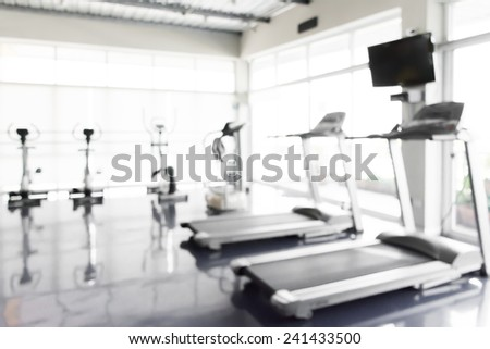 Fitness center abstract blur background. - stock photo