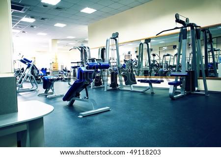 Fitness club. Equipment, gym apparatus. - stock photo