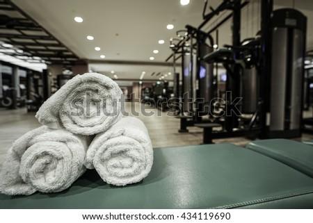 Fitness club in luxury hotel interior. - stock photo