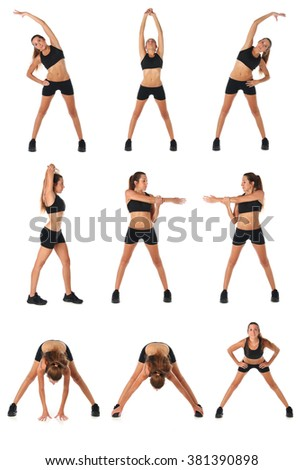 Fitness collage. Young woman doing exercise and  stretching over white - stock photo