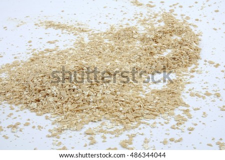 Fitness diet healthy Breakfast which included oatmeal oat isolated on white. Copy space