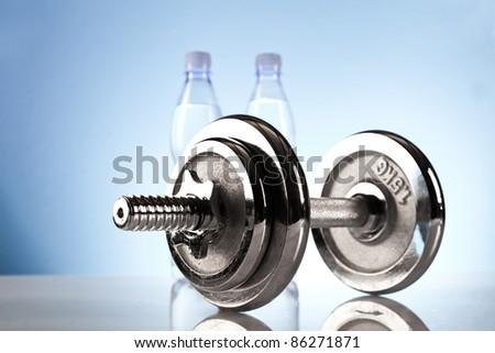 fitness dumbbell - stock photo