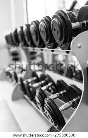 fitness dumbbells, weights equipment - stock photo