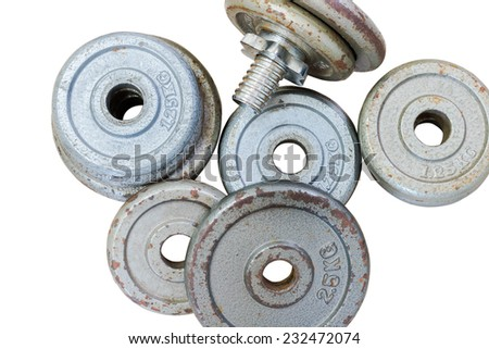 Fitness equipment dumbbell weights on background isolate