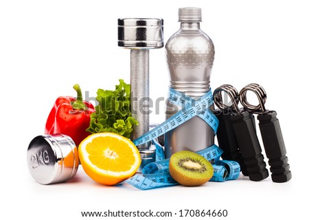 fitness equipment with  fruits and water  isolated on white  - stock photo