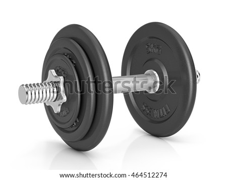 Fitness exercise dumbbell on a white background.