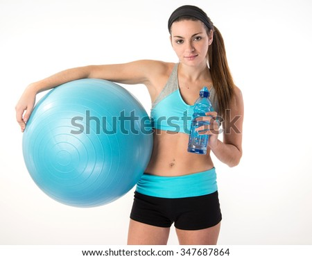 fitness female relaxing with exercise workout ball - stock photo
