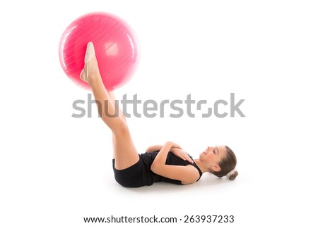 Fitness fitball swiss ball kid girl exercise workout on white background