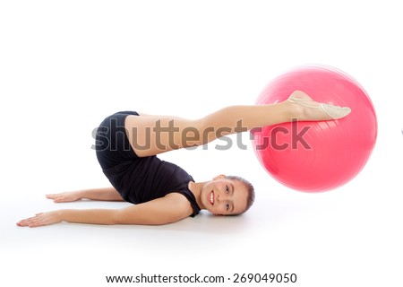 Fitness fitball swiss ball kid girl exercise workout on white background - stock photo