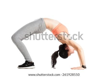 fitness girl posing against white background - stock photo