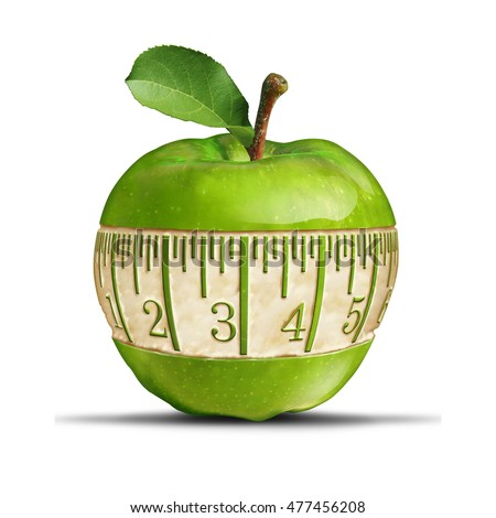 Fitness green apple symbol as a measuring tape shape carved out of the healthy fruit as a fitness and nutrition concept for health food dieting and losing weight with 3D illustration elements.