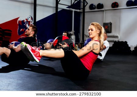 Fitness group training with exercise ball - stock photo