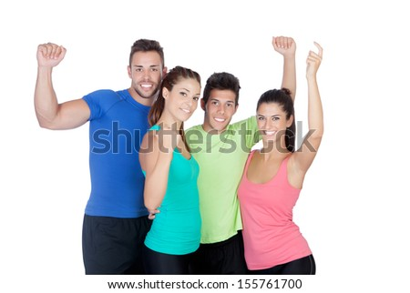 Fitness happy friends celebrating something isolated on a white background - stock photo