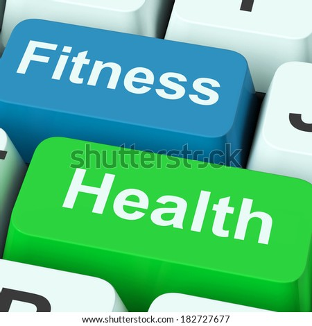 Fitness Health Keys Showing Healthy Lifestyle