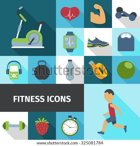 Fitness health life style activities and accessories flat icons set with stationary bicycle abstract isolated  illustration - stock photo