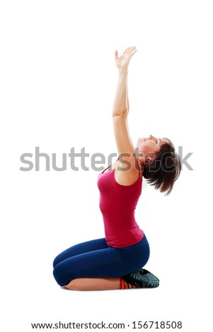 Fitness healthy middle aged woman doing stretching exercise - stock photo