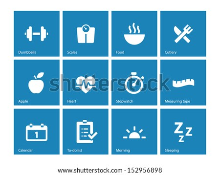 Fitness icons on blue background. See also vector version. - stock photo